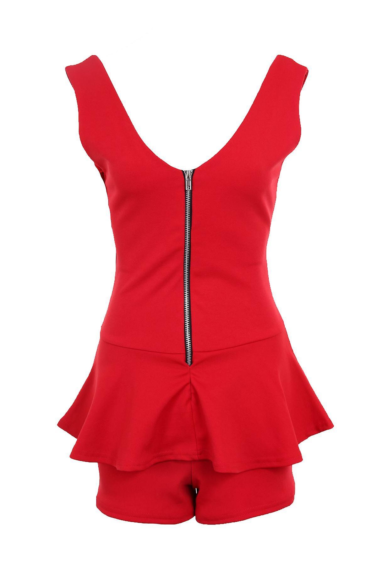 Ladies Sleeveless Zip V Front Back Peplum Short Women's Smart Playsuit