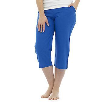 Womens Solid Colour Linen 3/4 Length Trouser Bottoms Pants Blue 10