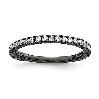 925 Sterling Silver Polished Prong set Ruthenium plating Black Plated With CZ Cubic Zirconia Simulated Diamond Ring Jewe