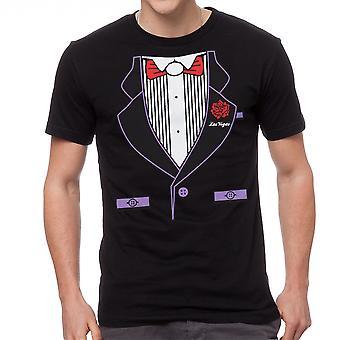 Humor Tuxedo Print Graphic Men's Black T-shirt