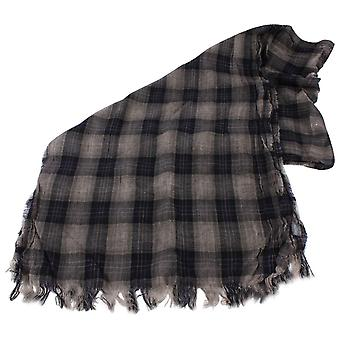Bassin and Brown Hold Checked Wool Scarf  - Navy/Blue/Gold