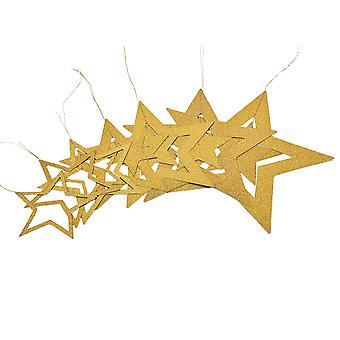 Christmas decorations-gold-coloured stars of different sizes