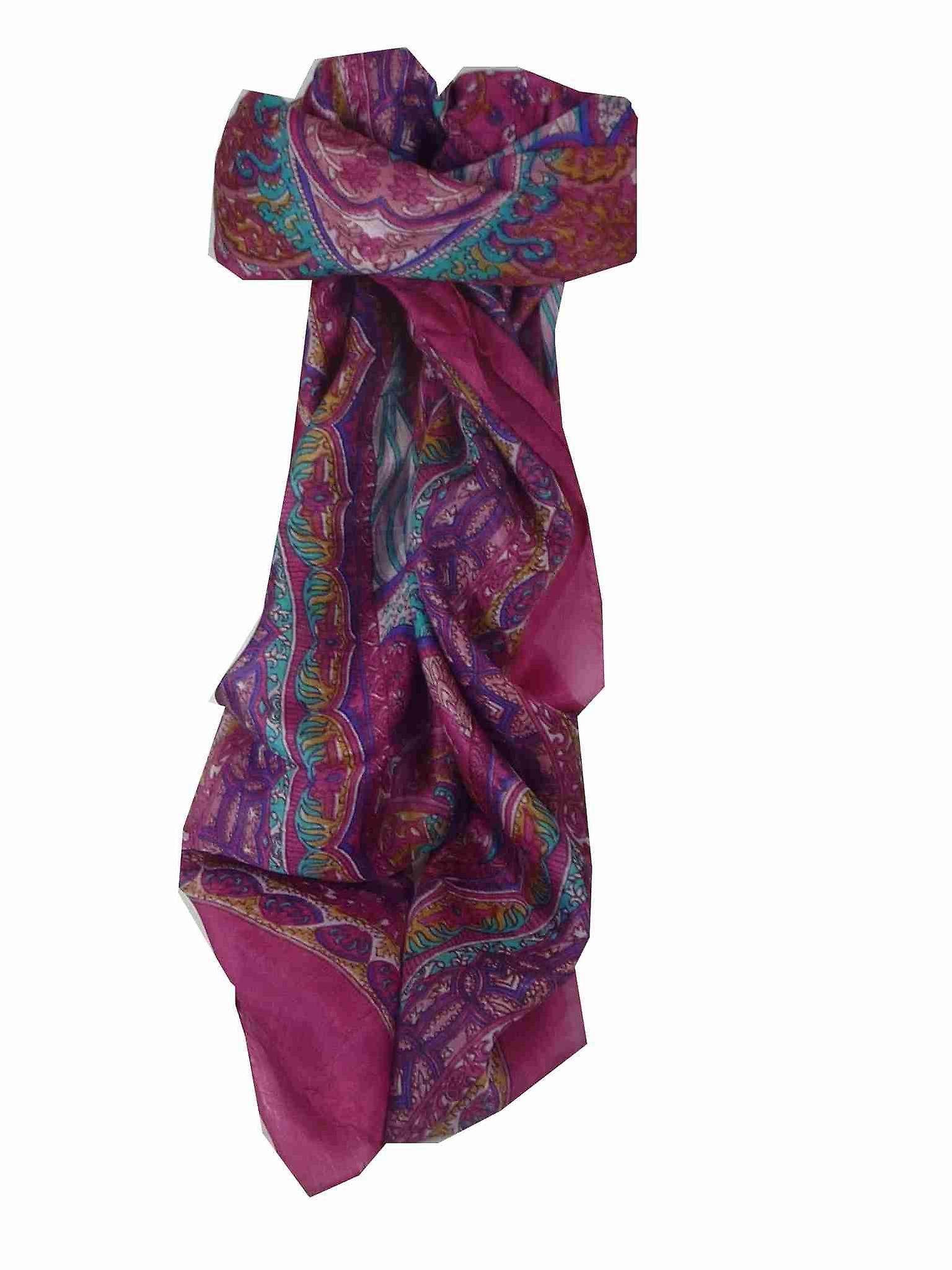Mulberry Silk Traditional Square Scarf Tara Pink by Pashmina & Silk