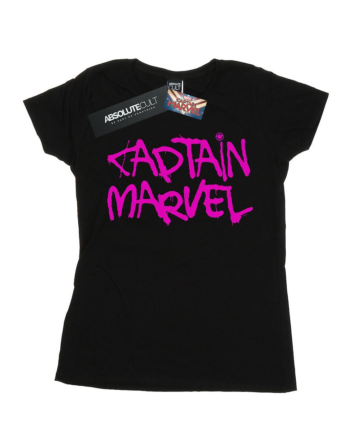 Marvel Women's Captain Marvel Spray Text T-Shirt