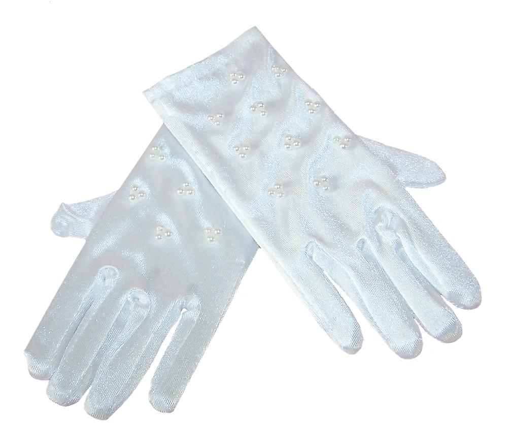 Girls white satin special occasion gloves with pearl trims