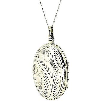 Das Olivia Collection Sterling Silber 30mm Oval graviert Medaillon auf 18