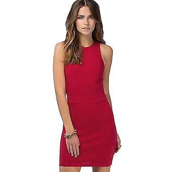 Lovemystyle Short Red Dress With Feature Black Zip