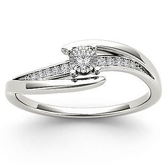 Igi certified 14k white gold 0.10 ct natural diamond fashion engagement ring