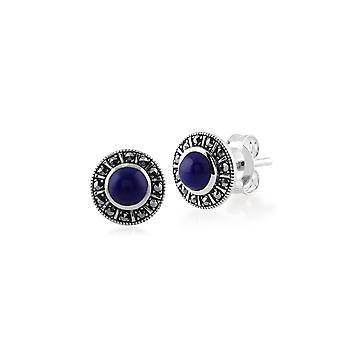 Art Deco Style Pyöreä Lapis Lazuli & Marcasite Halo Stud korvakorut 925 Sterling Hopea 214E850402925