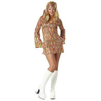 Диско Долли 1960s 1970s хиппи хиппи Go Go ретро блестками платье костюм женский
