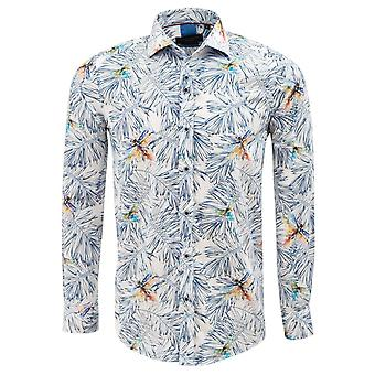 Guia de Londres multi algodão sateen folha e animal print Mens shirt