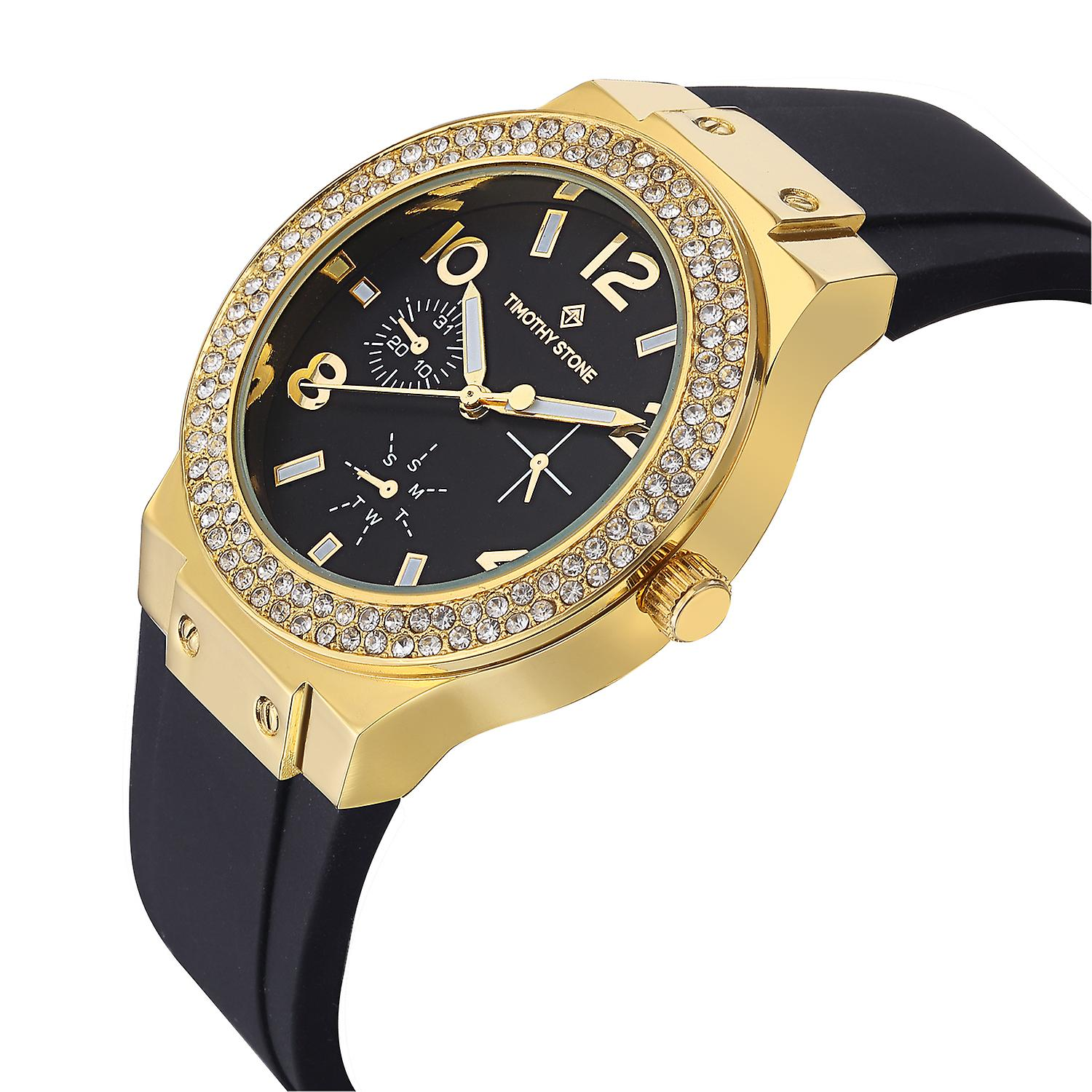 Timothy Stone Women's FA�ON-SILICONE Gold-Tone and Black Strap Watch