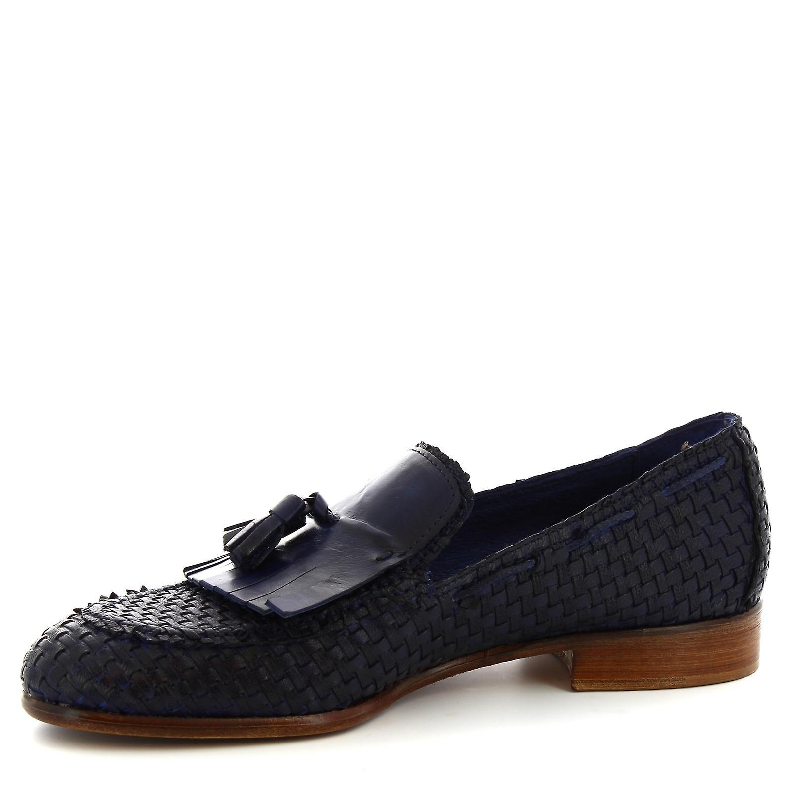 Chaussures Leonardo Chaussures Chaussures de gland selle à la main chaussures en cuir de veau tissé bleu