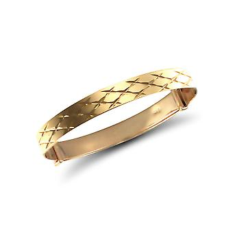 Jewelco Londen Baby Solid 9ct Yellow Gold Diamond Cut 5mm uitbreiden Bangle Bracelet