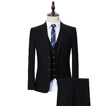 Allthemen Men's 3-Piece Suits Solid Black Business Blazer&Vest&Pants