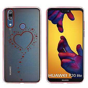 Huawei P20 Lite Case Hearts Rose Gold - Backcover Clear Bumper Look