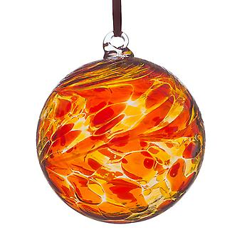 Sienna Glass 8cm Friendship Ball, Red and Yellow