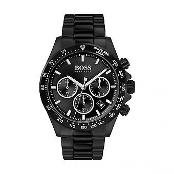 Se Hugo Boss 1513754-Hero Chrono box sort stål dial sort stål armbånd sort stål mænd