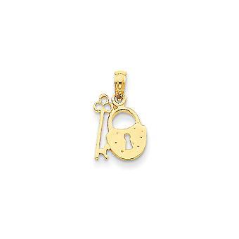 14 k gult gull polert åpen rygg struktur tilbake Padlock og Key anheng - måler 17.5x10.3mm