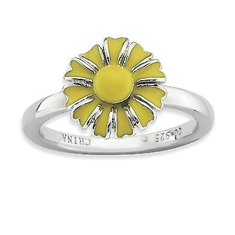 925 Sterling Silver Enamel Polished Rhodium plated Stackable Expressions Daisy Ring Jewelry Gifts for Women - Ring Size: