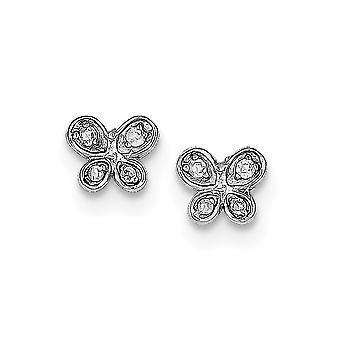 925 plata esterlina sólida pulida CZ cubic Zirconia simulada diamante mariposa ángel alas post pendientes regalos de joyería regalos