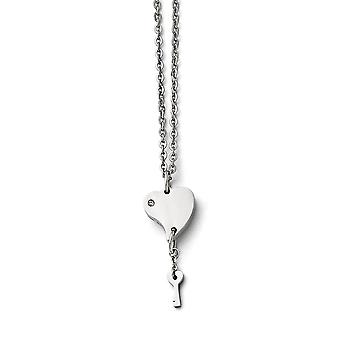 Stainless Steel Engravable Fancy Lobster Closure Polished Love Heart With CZ Cubic Zirconia Simulated Diamond and Key Ne