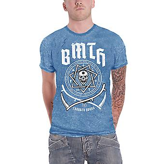 Bring Me The Horizon T Shirt Crooked Young Logo Official Mens New Blue Burnout
