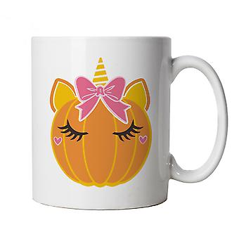 Unicorn Pumpkin Bow Mug | Halloween Fancy Dress Costume Trick Or Treat | Hallows Eve Ghost Pumpkin Witch Trick Treat Spooky | Halloween Cup Gift