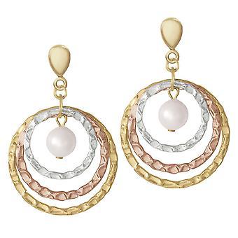 Eternal Collection toivoo kolmen sävy kulta ja kuori Pearl pudota ruuvi takaisin Clip korva korut