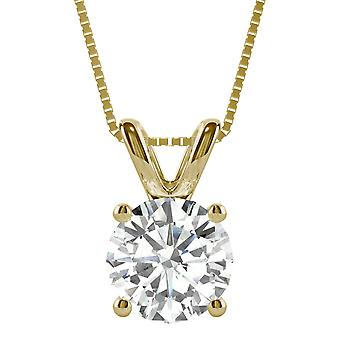 14K Yellow Gold Moissanite by Charles & Colvard Round Solitaire Pendant, 3.10ct DEW