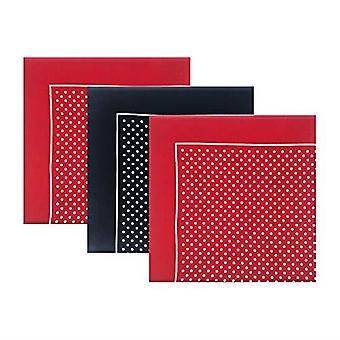 Packs Of 3 Mens/Gentlemens Red & Navy Supersize Handkerchiefs With Spot/Polka Dot Print (Assorted Colours), 100% Cotton, 55 x 55cms