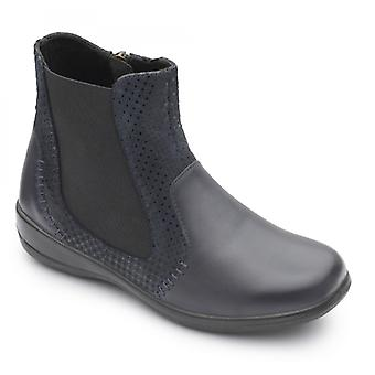 Padders Margot Ladies Leather Extra Wide (2e/3e) Chelsea Boots Navy