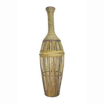 "12"" X 12"" X 41.25"" Champagne Bamboo Metal Vase con una banda"