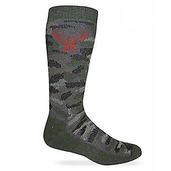 Huntworth 2 Pack Men's Camo Wool Blend Boot Sock, Camo Green, Size Medium