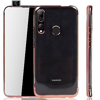 Handyhülle für Huawei P smart Z Rose Pink - Clear - TPU Silikon Case Backcover Schutzhülle in Transparent / glänzender Rand Rose Pink