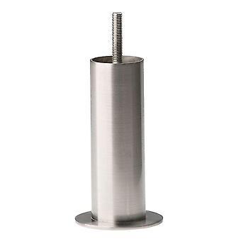 Rund rustfritt stål møbler ben 14 cm (M8) (1 stk)