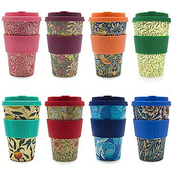 Ecoffee Eco-Friendly 14oz 400ml William Morris Reusable Bamboo Tea & Coffee Cups With Silicone Lid Top For Travel & Home - Various Colours