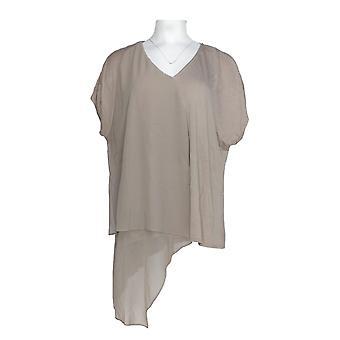 H di Halston Women's Top Knit Top w/ Chiffon Cascade Beige A276847