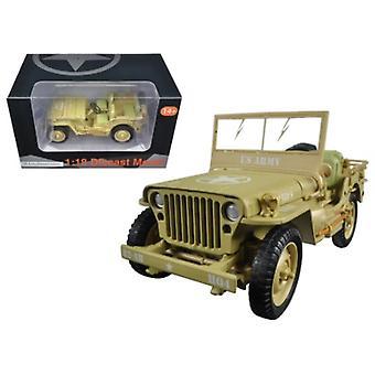 US Army WWII Jeep Fahrzeug Wüste Farbe 1/18 Diecast Modellauto von Amerikanischen Diorama