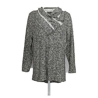 Estilo & Co. Women's Plus Sweater Cowl Neck Long Sleeve Hilo Gray