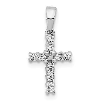 14k Diamante Branco Diamante Latino Fé Religiosa Cruz Pingente Colar Joias Joias para Mulheres