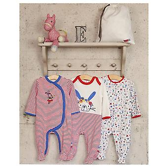 The Essential One 3 Pack Floral Bunny Sleepsuits