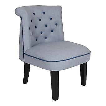 Charles Bentley lino Ocasión Accent Chair Lounge/Hallway/Bedroom/Dressing Room Grey con botones azules y tuberías