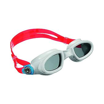 Aqua Sphere Mako Swim Goggle- Dark Lens- White/Light Blue/Red Frame