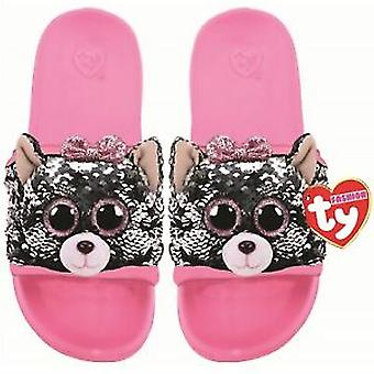 TY Flippable Sequin Flip Flops - Kiki The Cat - Size Large (3-5)