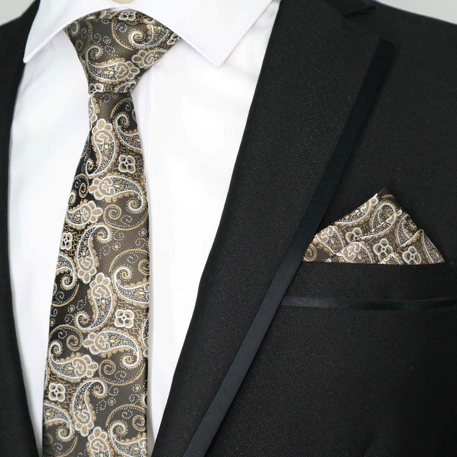 Brown bronze & gold paisley pattern pocket square & tie
