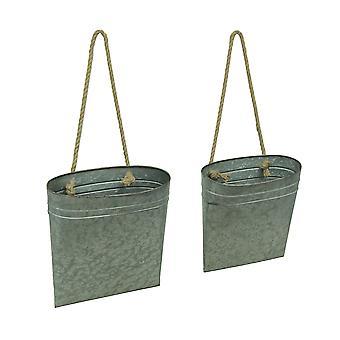 Galvanisert metall hengende kurven sett med 2 innendørs/utendørs plantasjeeiere