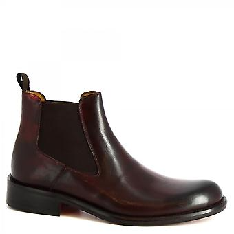 Leonardo Shoes Men's handmade classy ankle boots in burgundy calf leather