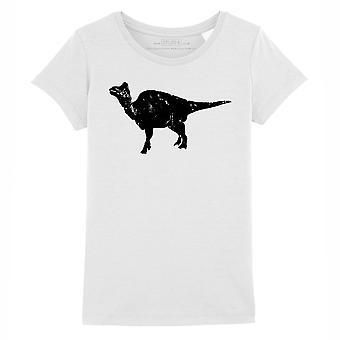 STUFF4 Girl's Round Neck T-Shirt/Dinosaur/Corythosaurus/White