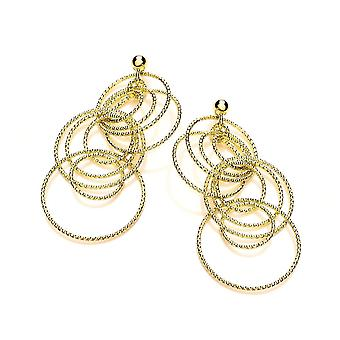 David Deyong Sterling Silver Yellow Gold Plated Diamond Cut Fine Multi Ring Drop Earrings